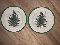 "Spode Christmas Tree Salad Plates 8"" SET OF 2 Plates Brand New With Tags"