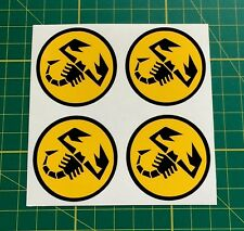 4 x 60mm Alloy wheel stickers fiat abarth yellow fit center badge trim hub cap