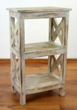 Rustic Bedside Table Handmade Bali Furniture Indonesia Small Shelf Whitewash