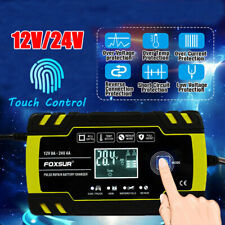 12V/24V 8 Amp Intelligent Smart Car Battery Charger Pulse Repair Starter AGM/GEL