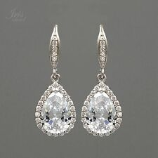 White Gold Plated Zirconia CZ Wedding Bridal Bridesmaids Drop Dangle Earrings 11