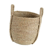 Seagrass Woven Storage Basket Flower Plants Straw Pots Bag Laundry Decor S