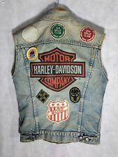 Levis Vintage Harley Davidson Denim Vest USA Army Berlin Biker Patches Size 38