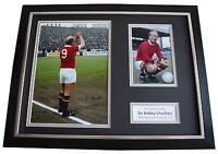 Bobby Charlton SIGNED FRAMED Photo Autograph 16x12 display Manchester United COA