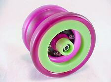 Green Purple Grind Machine Yo Yo From The YoYoFactory + 3 NEON STRINGS YE/OR/GRN