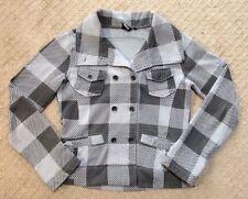 Juniors Hurley Gray Check Knit Peacoat Jacket-size M