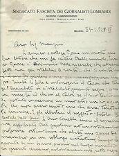 Lettera su Carta Sindacato Fascista Giornalisti Lombardi Milano Bevilacqua 1928