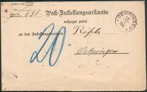 Württemberg Orig. Postzustellungsurkunde 1889 Oehringen innerorts, TOP RARE