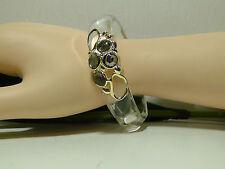 Alexis Bitar Smoky Quartz Mother of pearl Clear Lucite Bangle Bracelet.