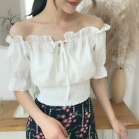 Women Off Shoulder Chiffon Crop Blouse Top Ruffle Lolita Puff Sleeve Flared Chic