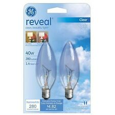GE Lighting 48701 40-Watt Reveal Blunt Tip B10 2-Pack 40W; Cac; 230-lmns New
