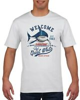 RETRO SHARK ATTACK T-SHIRT, Florida Coast Mens White Tee, Premium T-Shirt, S-4XL