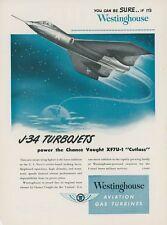 1949 Westinghouse Aviation Ad J-34 Turbojet Engine Chance Vought Cutlass XF7U