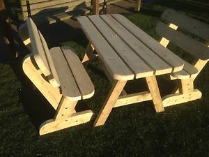 Heavy Duty Garden Table and Twin Bench Set **NO Self Assembly required**