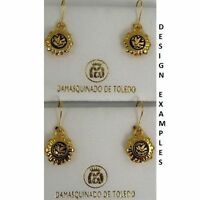 Damascene Gold Round Dove of Peace Design Drop Earrings by Midas of Toledo Spain