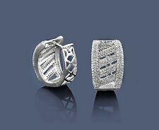 Pendientes Aros Diamantes 14 k Oro blanco 1,18 ct. Wesselton Brillantes Nuevo