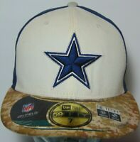 Size 7 Dallas Cowboys Salute to US Military NFL Football NEW ERA 59Fifty HAT CAP