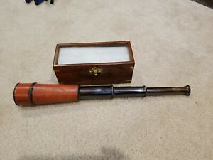 KELVIN & HUGHES LONDON SpyglassTelescope With Wooden Box Marine Scope