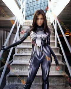 Female Venom Spiderman Jumpsuit Cosplay Costume Comicon Adult Kids Cos Halloween