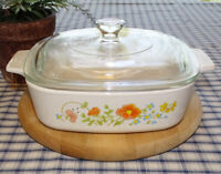 Vintage Corning Ware Wildflower 1 Quart Casserole Dish A-1- B w Pyrex P-7-C Lid