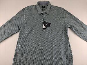 NEW Hugo Boss Ronni Slim Fit Stretch 2XL Geometric Shirt Contrast Long Sleeve C