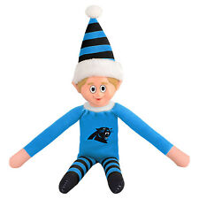 "Carolina Panthers Plush Christmas Elf [NEW] NFL 9.5"" Doll Shelf Stuffed Toy"