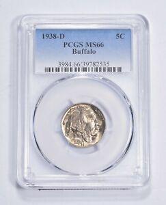 RARE Last Year - MS-66 1938-D Buffalo Nickel - Denver - Tough PCGS Graded *673