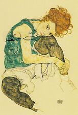 Doppelkarte: Egon Schiele - Sitzende Frau mit hochgezogenem Knie
