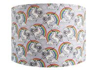 Handmade Grey Unicorn and Rainbow Lampshade - Light Shade Vintage Home House
