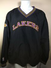 Champion LA Lakers Vintage NBA Jacket Black Pullover Stitched Logos XXL RARE
