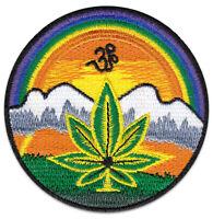 Hanf-Blatt Himalaya Om Symbol Hippie Goa Nepal Cannabis Aufnäher Patch Aufbügler