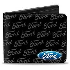 Men Wallet Bifold Black Ford Focus Fusion Mustang F-150 Logo CORNER Text