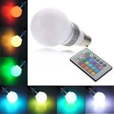 B22 3W LED RGB Globe Light Lamp Bulb 16 Colors Changing IR Remote Controller QW