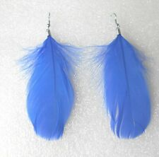 BLUE Feather Earrings - Classic Design - Clip-on by Request