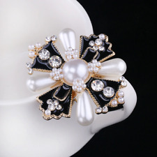 for Women Fashion Dress Coat Simulated Pearl Vintage Style Cross Brooches