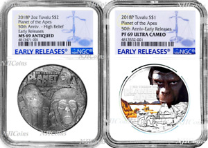 2-Coin-Set 2018 Planet of the Apes SILVER $2 & $1 1oz 2oz NGC MS PF 69 ANTIQUED