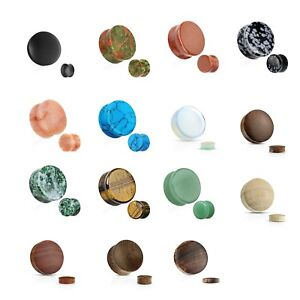 Organic Ear Plugs / tunnels Made of Solid Stone or Wood-SOLD AS A PAIR