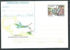 1992 ITALIA CARTOLINA POSTALE SCOPERTA AMERICA TERZO VIAGGIO DI COLOMBO - ED