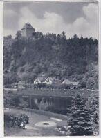 Ansichtskarte Partie an der Saale in Ziegenrück - Blick auf Hotel - schwarz/weiß