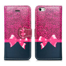 Leather Luxury Wallet Book Flip Phone Protect Case for Apple iPhone 6 6s Pink Ribbon - Bow Knot Tie Leopard Print Gift Spot