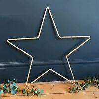 59cm Rusty White Metal Star Iron Wire Hanging Mantle Garden Xmas Decoration