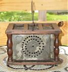 Antique Fabulous Primitive Wood and Punched Metal Foot Bed Warmer w  Heart Motif