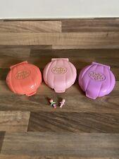 1989 - Bluebird Toys - Polly Pocket - 2 Dolls - 3 Compacts - Cafe - Wedding