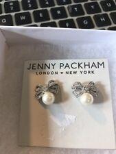 $40 Jenny Packham silver tone pearl bow earrings J1A