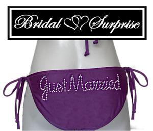 BRIDE BIKINI JUST MARRIED PURPLE PETAL CLEAR RHINESTONES GIFT W/ PURCHASE C-VID