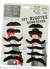 pour hommes femmes Pack de 12 noir adhésif auto Costume Déguisement moustaches