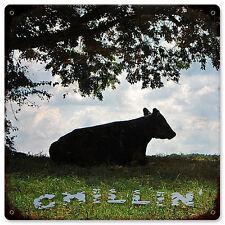 Cow Chillin Kuh Relax Weide Wiese Natur Retro Vintage Sign Blechschild Schild
