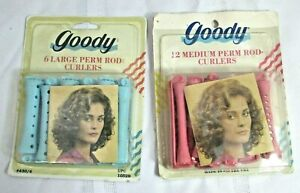 Goody Perm Rod Curlers 12 Medium 6 Large New Lot of 2 Vintage Packages