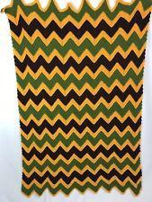 Vtg Afgan Crochet Blanket Chevron brown Yellow Green  60x36 Zig Zag