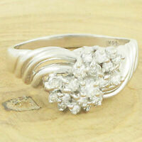 Vintage 14K White Gold .35 CT Diamond Waterfall Cluster Twist Ring 4g Size 6.75